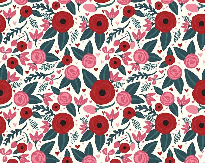 Floral Cream Cotton Woven Fabric c7621-cream - Hello Sweetheart by Cartabella for Riley Blake Design
