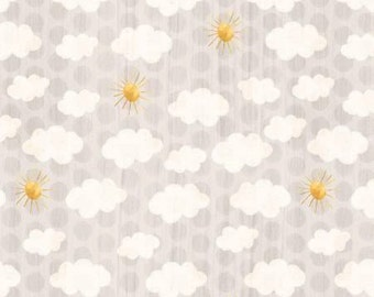 Wilmington Prints - On The Road Again by Katie Doucete -  Camping, Gray Clouds and Sky Cotton Woven Fabric *LAST PIECE* 1 yard Sugar Rush