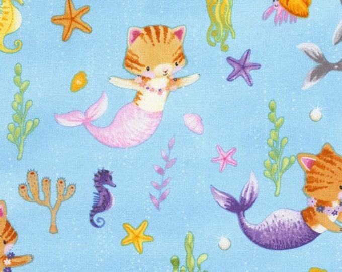 Timeless Treasures - C6601 Mermaid Cats Cotton Woven Fabric