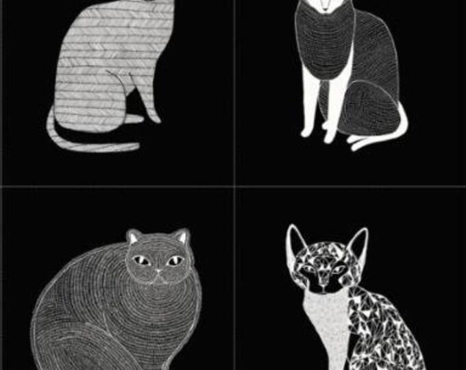 "Moda Fabrics - Catnip Black 36"" Panel cotton woven fabric"