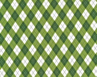 Michael Miller Fabrics - Rustique Winter -  Green Gift Wrap cotton woven fabric
