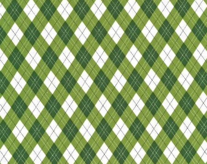 Michael Miller Fabrics - Rustique Winter -  Green Gift Wrap cotton woven fabric