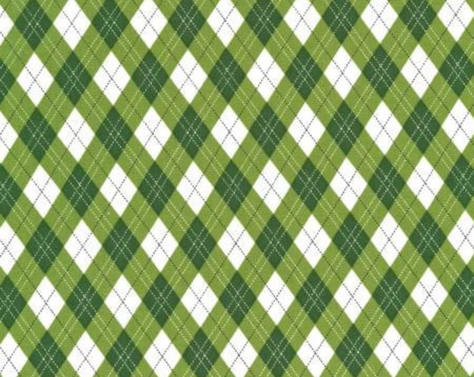 Rustique Winter, Green Gift Wrap cotton woven fabric by Michael Miller Fabrics