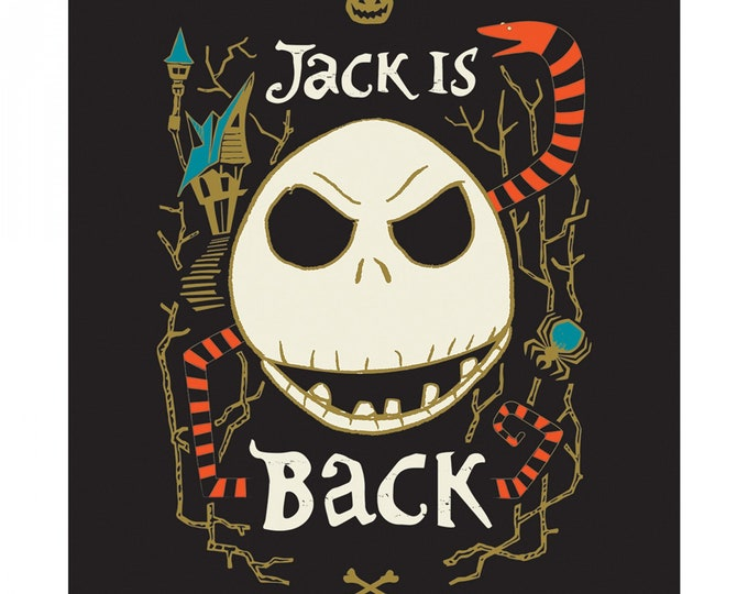 """Nightmare Before Christmas - Jack is Back - 36 """" Glow In the Dark Cotton Woven Fabric Panel - Camelot"""