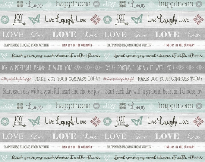 Benartex Fabrics - Words to Live By - Gray Turquoise Word Stripe - Cotton Woven Fabric