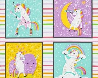 "Robert Kaufman Fabrics - Magical Rainbow Unicorns - 24"" Panel AIL-19053-263 Rainbow - Cotton Woven Fabric"