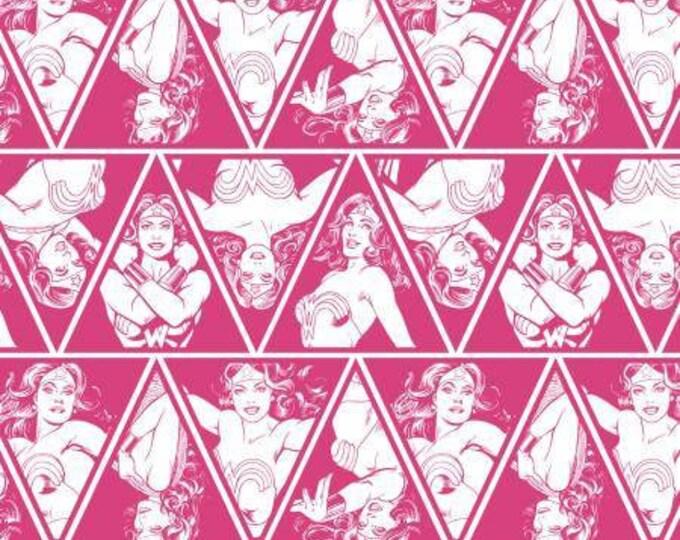 Camelot Fabric - Wonder Woman -  Magenta Triangles Cotton Woven Fabrics