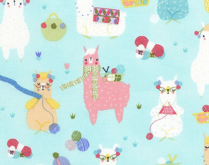 CLEARANCE -        Knitting Alpacas on Aqua Cotton Woven - Price per yard