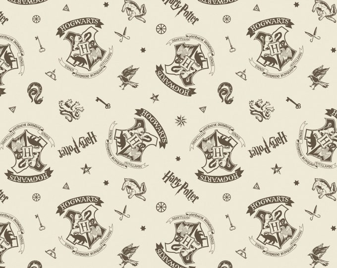 Camelot Fabric - Licensed Wizarding World - Cream Tossed Assets Harry Potter   #23800128-1 Cotton Woven Fabric