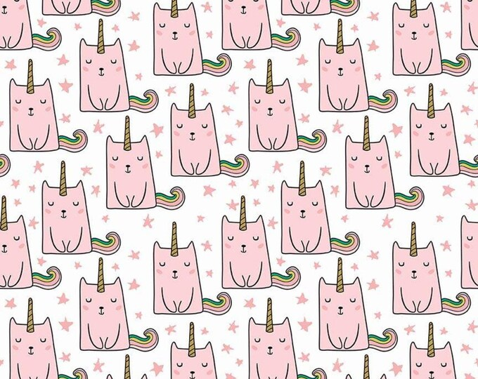 Caticorn Novelty Pink on White w/GOLD Metallic accents SC9008-WHITE - Webster's Pages for Riley Blake Fabrics