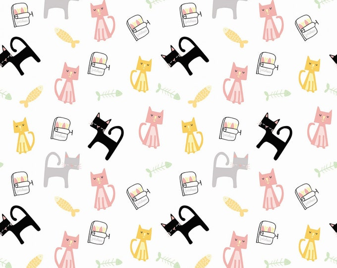 Riley Blake Fabrics - Meow and Forever by My Mind's Eye - Main White # C7840R-WHITE Cotton Woven Fabric