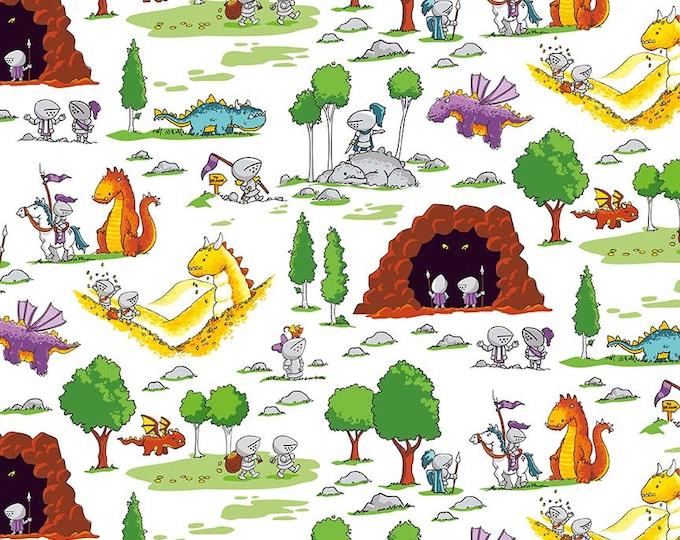 Riley Blake Fabrics - Dragons by Ben Byrd -  Fun White  c7661-white Cotton Woven Fabric