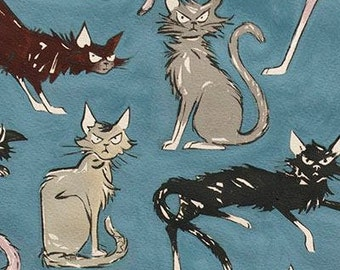 Alexander Henry Fabric - 9 Ghastlie Lives Blue Cotton Woven Fabric