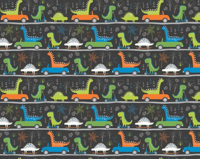 Camelot Fabrics - Roarsome - Carbon Dinosaurs on the Go Cotton Woven Fabric # 21180403-3