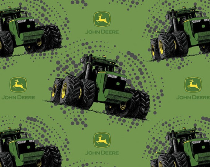 Springs Creative - Licensed John Deere Tractors - Big Time Tractors on Green Cotton Woven Fabric