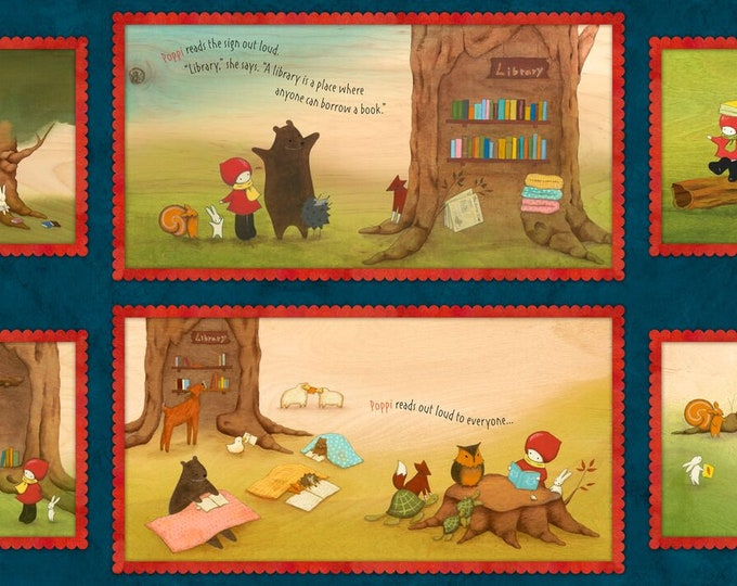 """Quilting Treasures - Reading Together - Licensed by Santoro - Poppi Loves Picture Patches 24"""" Panel  #26880N Cotton Woven Fabric"""