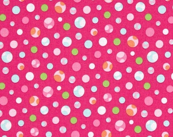 Marcus Fabric - Girly O Sauraus -  Dino Dots pink and Turquoise Cotton Woven Fabric