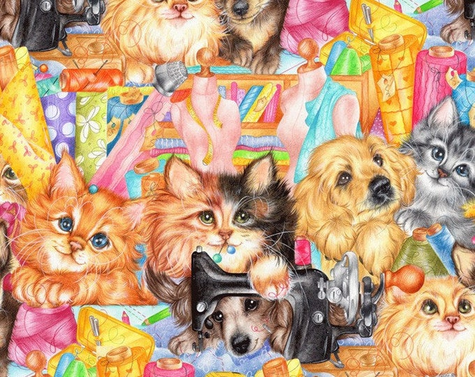 David Textiles - Sew Happy Animals, Pets and sewing Cotton Woven Fabric