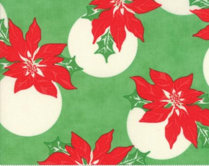 Moda Swell Christmas Poinsettia on Green PVC Coated Cotton Fabric
