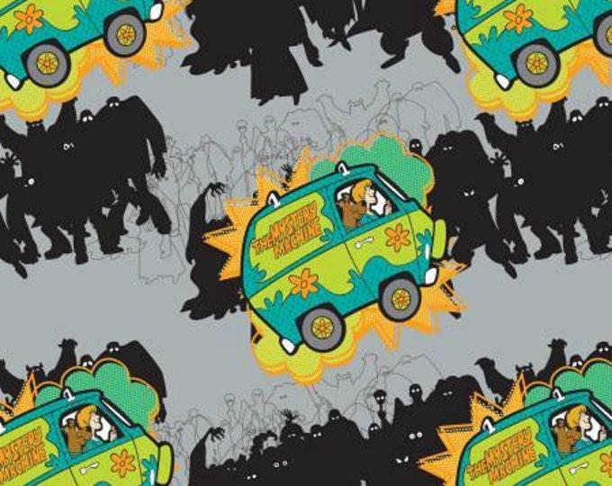 Camelot Fabrics - Scooby Doo -  Mystery Machine on Stone Gray cotton fabric