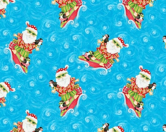 Blank Quilting - Holiday Beach - Blue Surfing Santa #9592-75 Cotton Woven Fabric