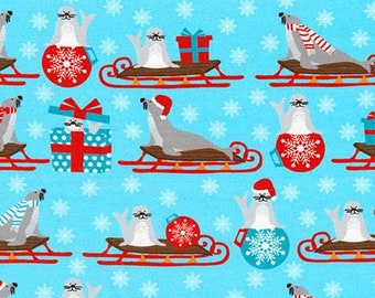 Robert Kaufman Fabric - It's Chilly Outside by Laurie Wisburn  - Seals on Sleds AWN-17309-88 ICE - Cotton Woven Fabric