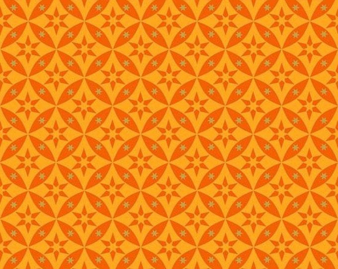 Quilting Treasures - Celestial Sol -  Orange Geo Star blender Cotton Woven Fabric