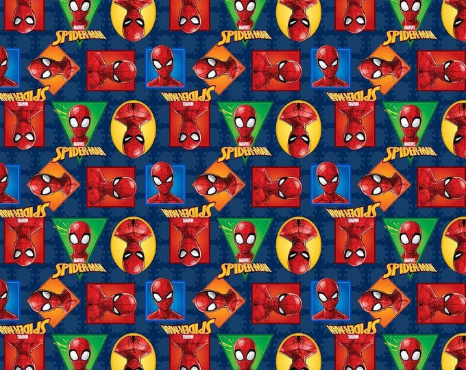 Springs Creative - Spiderman Badges Cotton Woven Fabric