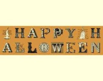 Quilting Treasures - Sew Scary Happy Halloween Letters Orange Cotton Woven Fabric