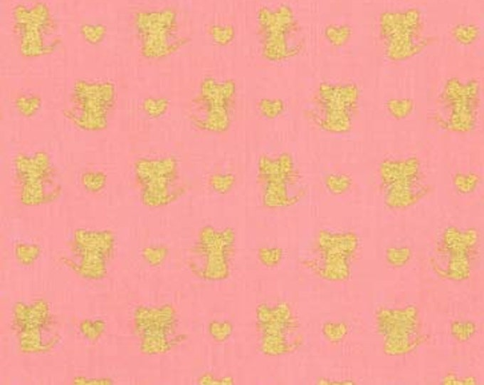 Michael Miller - Bubblegum Nice Mice Metallic Cotton Woven Fabric