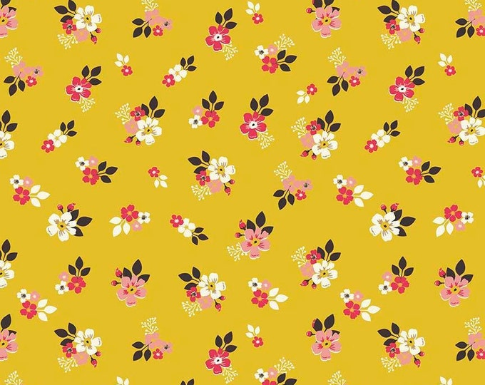Riley Blake Fabric - Vintage Day Dream -   Small Floral Mustard Gold Cotton Woven Fabric