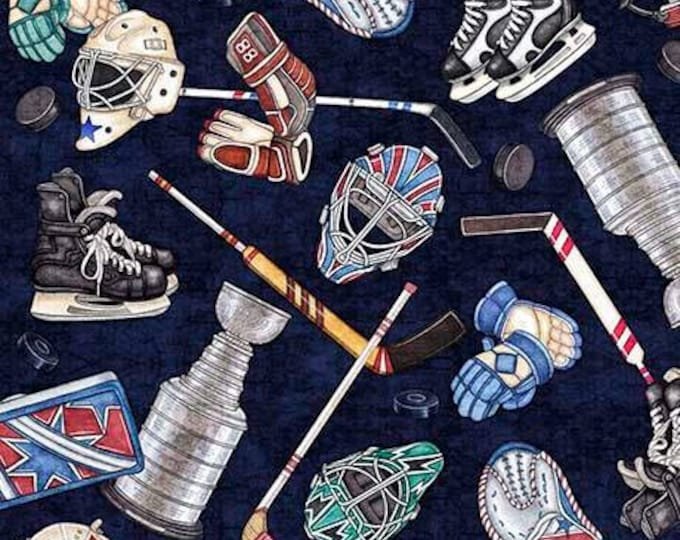 Face Off Hockey, Everything Hockey Navy cotton woven fabric by Dan Morris