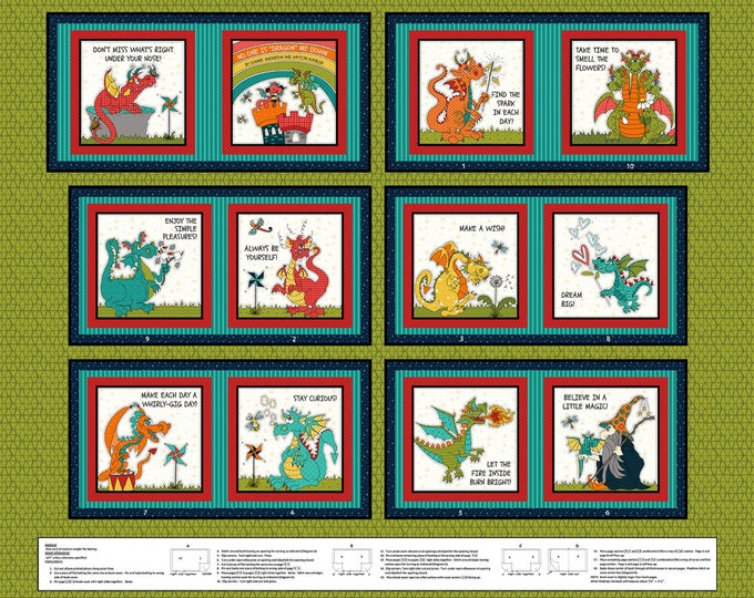 """Henry Glass Fabrics - Whirlygig Magic by Leanne Anderson - Green Dragon 36"""" Book Panel Book - Cotton Woven Fabric"""