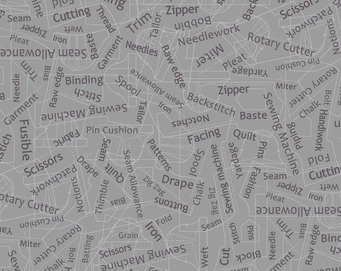 Gray Sewing Words 9387-95 Cotton Woven Fabric - Betterstitch by Blank Quilting