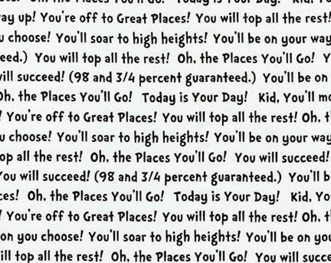Robert Kaufman - Oh The Places You'll Go by Dr Suess Enterprises - Black Words #ADE-18388-2 Cotton Woven Fabric
