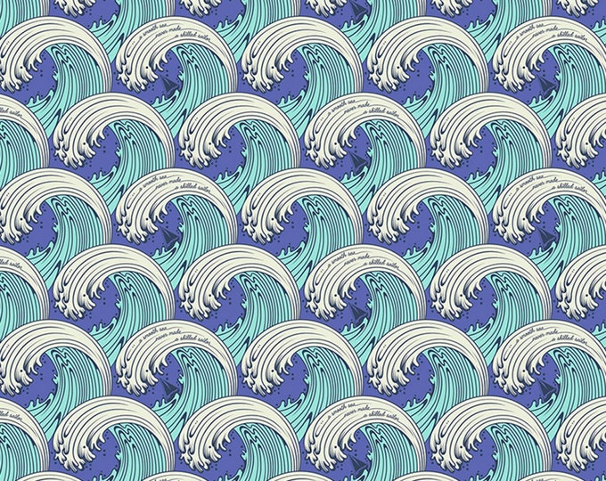 Tula Pink - Zuma - White Caps - Aquamarine    PWTP122-AQUA Cotton Woven Fabric