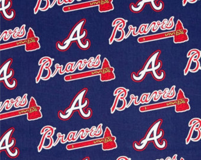 Fabric Traditions - Licensed MLB - Atlanta Braves Major League Baseball Cotton Woven Fabric 60 Inches wide