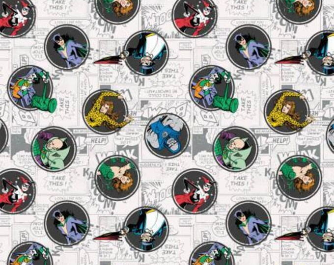 DC Comics, Gray Villains, Joker, Harley Quinn, Poison Ivy, and Cat Woman Cotton Woven fabric by Camelot Fabrics