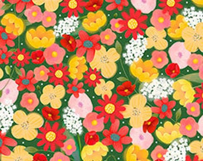 Quilting Treasures - Melon Drop - Santoro Gorjus Packed Flowers on Dark Green Cotton Woven Fabric
