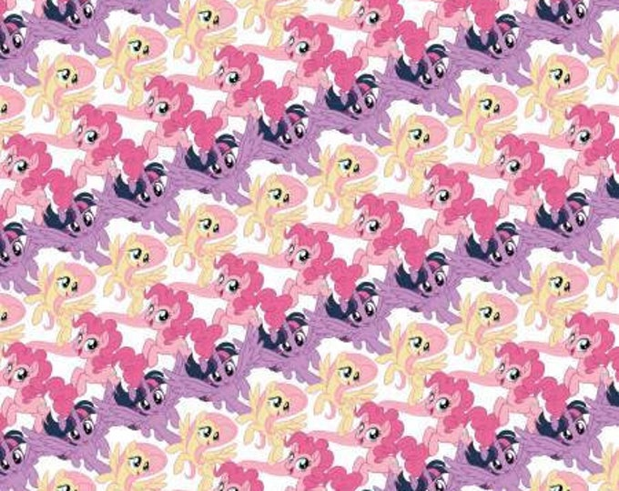 My Little Pony Stripe on White Digital Cotton Woven