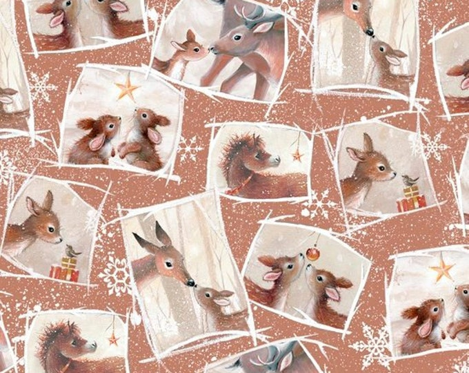 Quilting Treasures - Woodland Wonders -  Tossed Patch Cinnamon Cotton Woven  Fabric