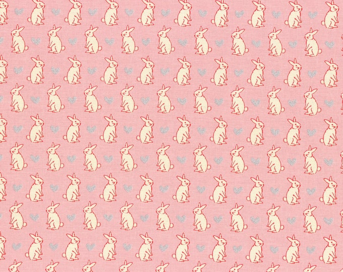 Lecien, Radiant Girl Bunnies on Pink Cotton Woven