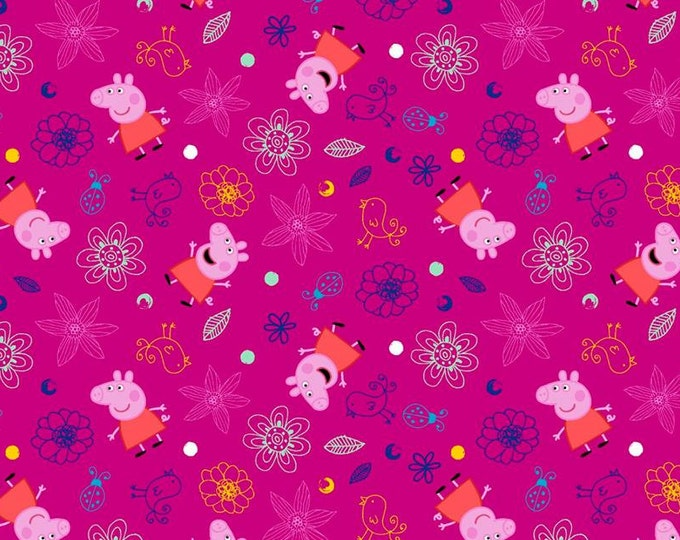 SALE !!! Peppa Pig with Flowers on Fuchsia Cotton Woven  - Price per yard !