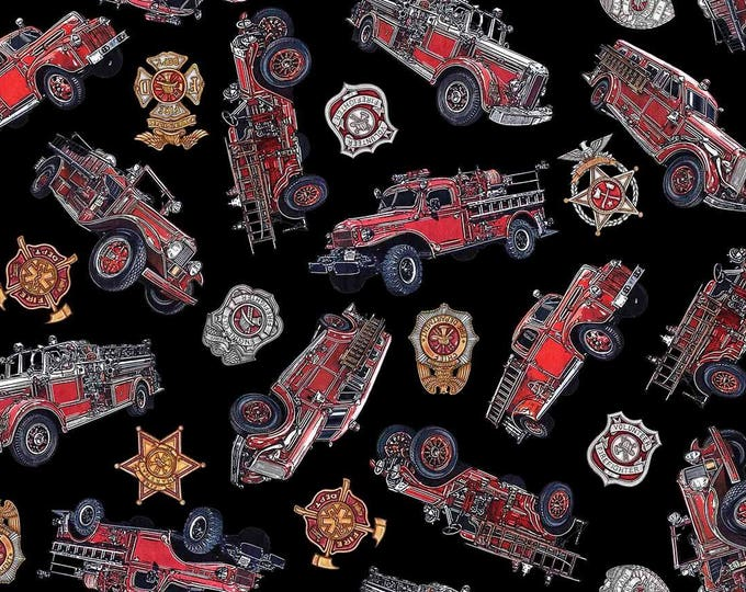 Quilting Treasures - 5 Alarm by Dan Morris, Firetrucks and Sheilds on Black Cotton Woven