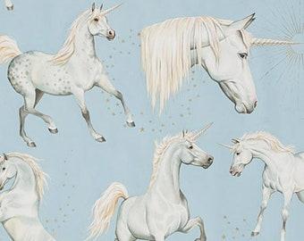 Alexander Henry Fabric - Light Blue Stars of the Sky Unicorns Cotton Woven Fabric