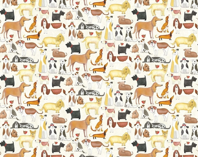 You Had Me At Woof - Crowded Dogs on Neutral - Cotton Woven Fabric - Northcott 22169-11