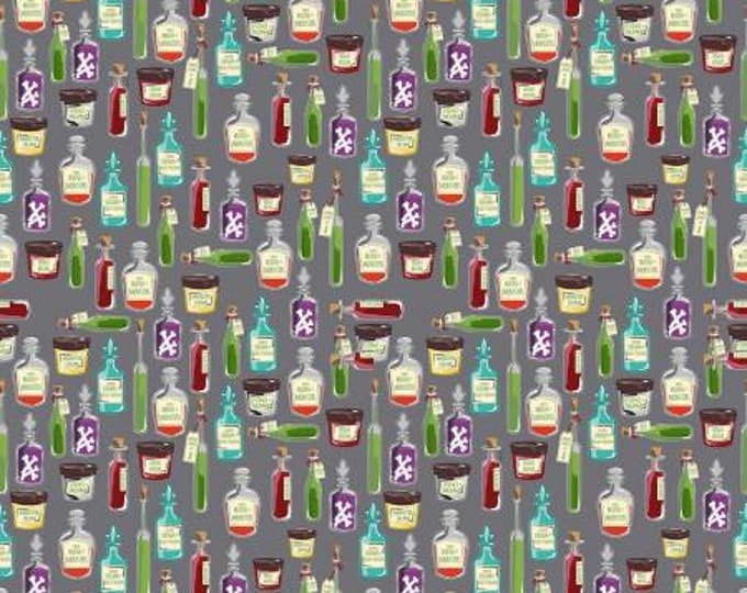 Riley Blake Fabric - Haunted House -  Haunted Apothecary on Gray Cotton Fabric Woven