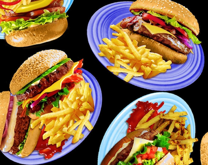 Timeless Treasures - Burger and Fries MICHAEL #C6973-Black Cotton Woven Fabric