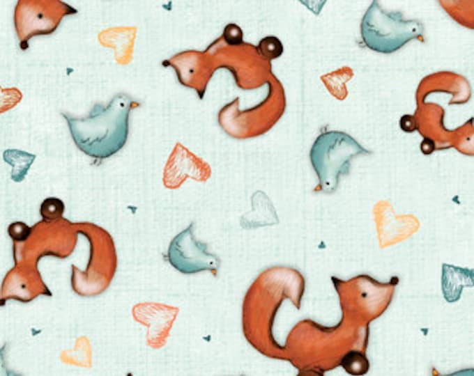 Quilting Treasures - Gorjuss Heartfelt Animal Toss on Teal, cotton woven