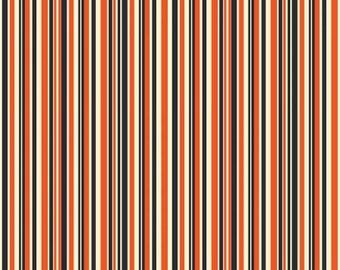 Riley Blake Fabric - Haunted House Haunted Stripe Orange Cotton Fabric Woven